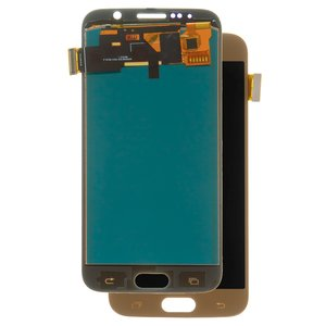 LCD compatible with Samsung G920 Galaxy S6, (golden, with touchscreen, with light adjustable, (TFT), Copy)