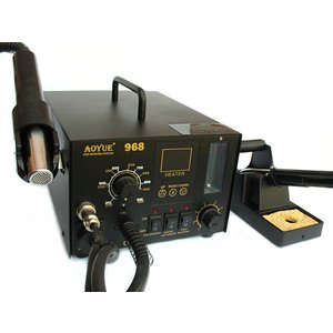 Hot Air Soldering Station AOYUE 968 with Soldering Iron and Smoke Absorber (110 V)