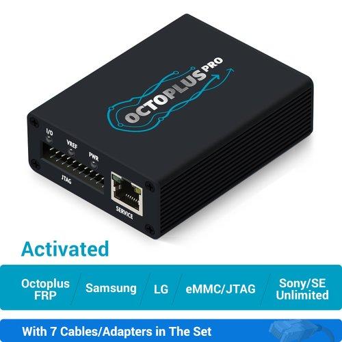 Caja Octoplus Pro con juego de cables/adaptadores 7 en 1 (con activaciones Samsung + LG + eMMC/JTAG + Unlimited Sony Ericsson + Sony + Octoplus FRP Tool)