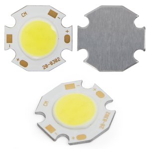 COB LED модуль 3 Вт (холодный белый, 250 лм, 20 мм, 300 мА, 9-12 В)
